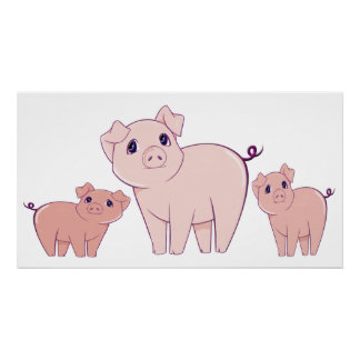 Three Cute Little Pigs Art Poster