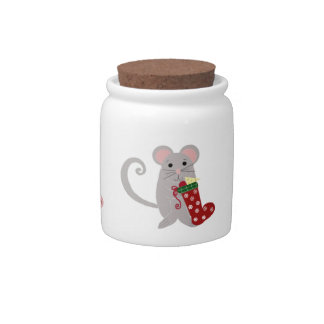 Three Cute Mice with Christmas Stockings Candy Jars