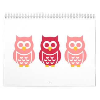 Three cute owls calendar