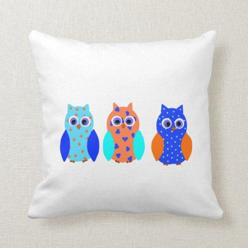 Three Cute Owls on Throw Pillows, or Cushions. Throw Pillow Zazzle