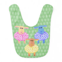 Three cute pink blue and yellow sheep baby bib