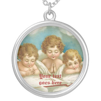 Three cute praying angels necklace