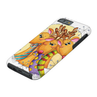 Three Cute Reindeer with Scarves and Stars Tough iPhone 6 Case