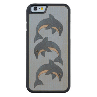 Three cute Shiny dark blue white Swimming Dolphins Carved Maple iPhone 6 Bumper Case