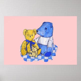 three cute teddies on picnic cloth original art poster
