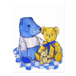 Three cute teddy bears blue & lemon still life art postcard