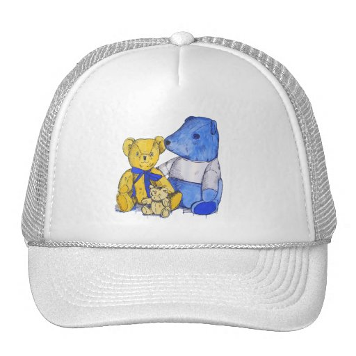 three teddy bears still trucker hat zazzle