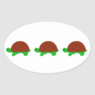 Three Cute turtles Oval Sticker
