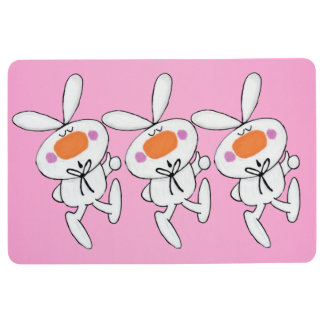 Three Cute White Rabbits Pink Cheeks Thumbs Up Floor Mat