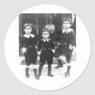 Three Cute Young Boys Vintage Photo Classic Round Sticker