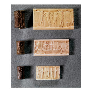 Three cylinder seals with impressions, poster
