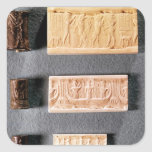 Three cylinder seals with impressions, square sticker