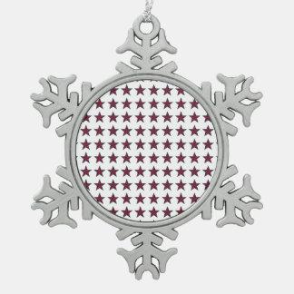 Three-D Patriotic Stars Snowflake Pewter Christmas Ornament