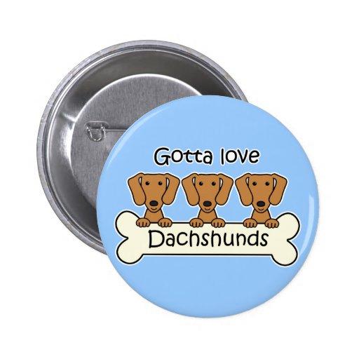 Three Dachshunds 2 Inch Round Button