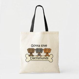 Three Dachshunds Canvas Bag