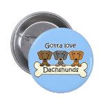 Three Dachshunds Button