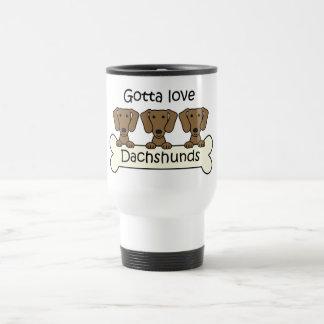 Three Dachshunds 15 Oz Stainless Steel Travel Mug