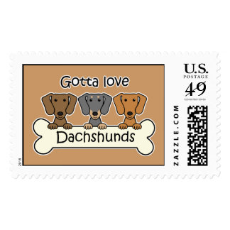 Three Dachshunds Postage Stamp
