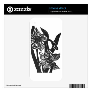 Three Daffodils - block print Skin For The iPhone 4