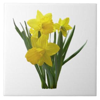 Three Daffodils Standing Guard Ceramic Tile