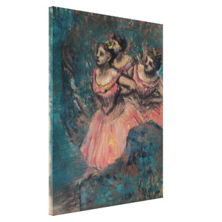 Three Dancers in Red Costume by Edgar Degas Canvas Prints