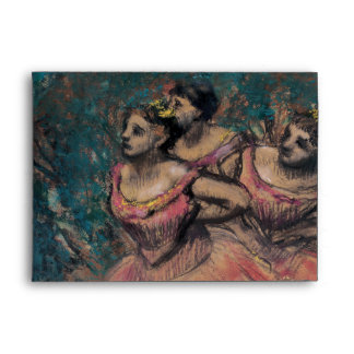 Three Dancers in Red Costume by Edgar Degas Envelopes