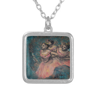 Three Dancers in Red Costume by Edgar Degas Silver Plated Necklace