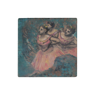 Three Dancers in Red Costume by Edgar Degas Stone Magnet