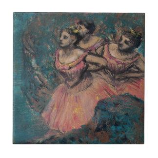Three Dancers in Red Costume by Edgar Degas Ceramic Tile