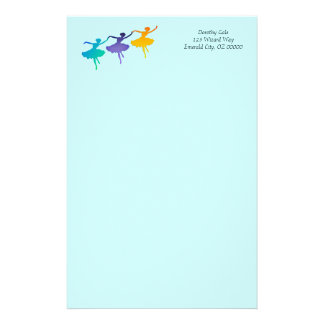 Three Dancers on Pale Blue Stationery