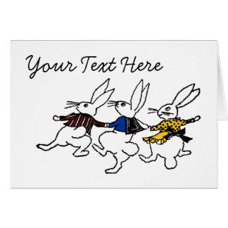 Three Dancing Bunnies Card