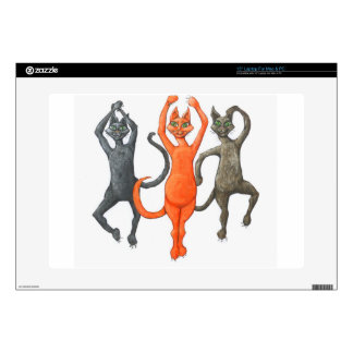 "Three Dancing Cats Decal For 15"" Laptop"