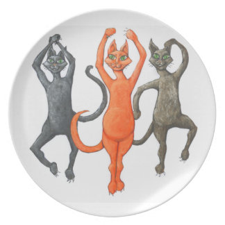 Three Dancing Cats Plate