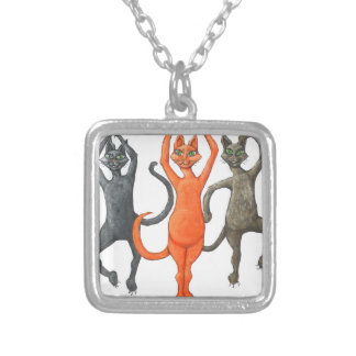 Three Dancing Cats Square Pendant Necklace