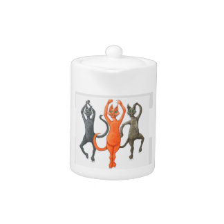 Three Dancing Cats Teapot