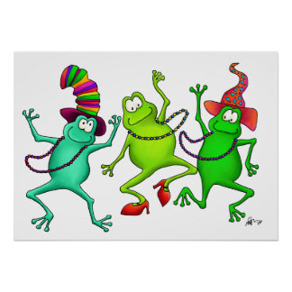 Three Dancing Frogs Art Print Poster