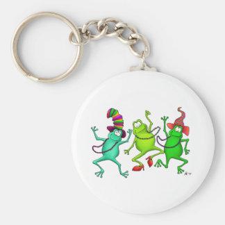 Three Dancing Frogs Basic Round Button Keychain