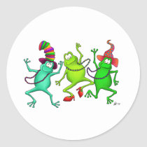 Three Dancing Frogs Classic Round Sticker