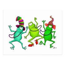 Three Dancing Frogs Postcard