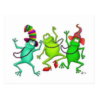 Three Dancing Frogs Postcard