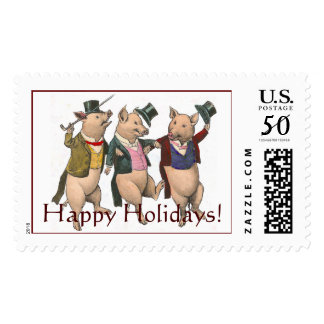 Three Dancing Pigs Happy Holidays Stamp