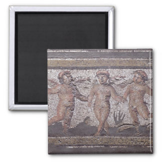 Three dancing putti accompanied by one playing the magnet