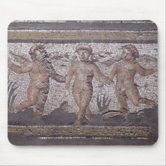 Three dancing putti accompanied by one playing the mouse pad