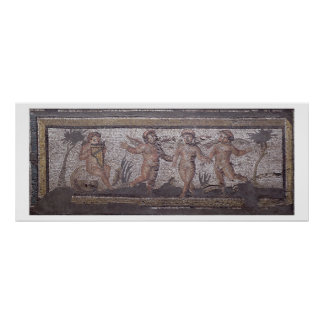 Three dancing putti accompanied by one playing the poster