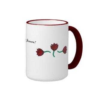 Three dark red flowers Mug
