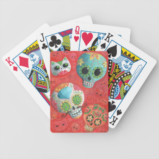 Three Day of The Dead Skulls Bicycle Playing Cards