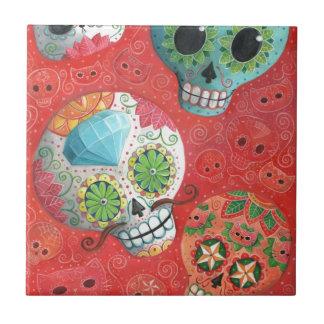 Three Day of The Dead Skulls Ceramic Tile
