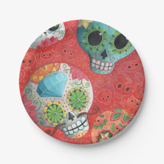 Three Day of The Dead Skulls Paper Plate