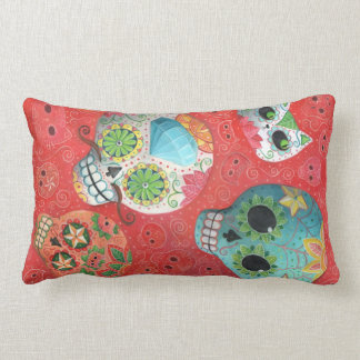 Three Day of The Dead Skulls Throw Pillows
