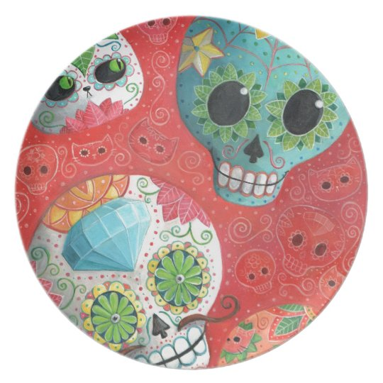 Three Day of The Dead Skulls Plate